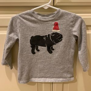 Baby Gap Santa Christmas English Bulldog shirt